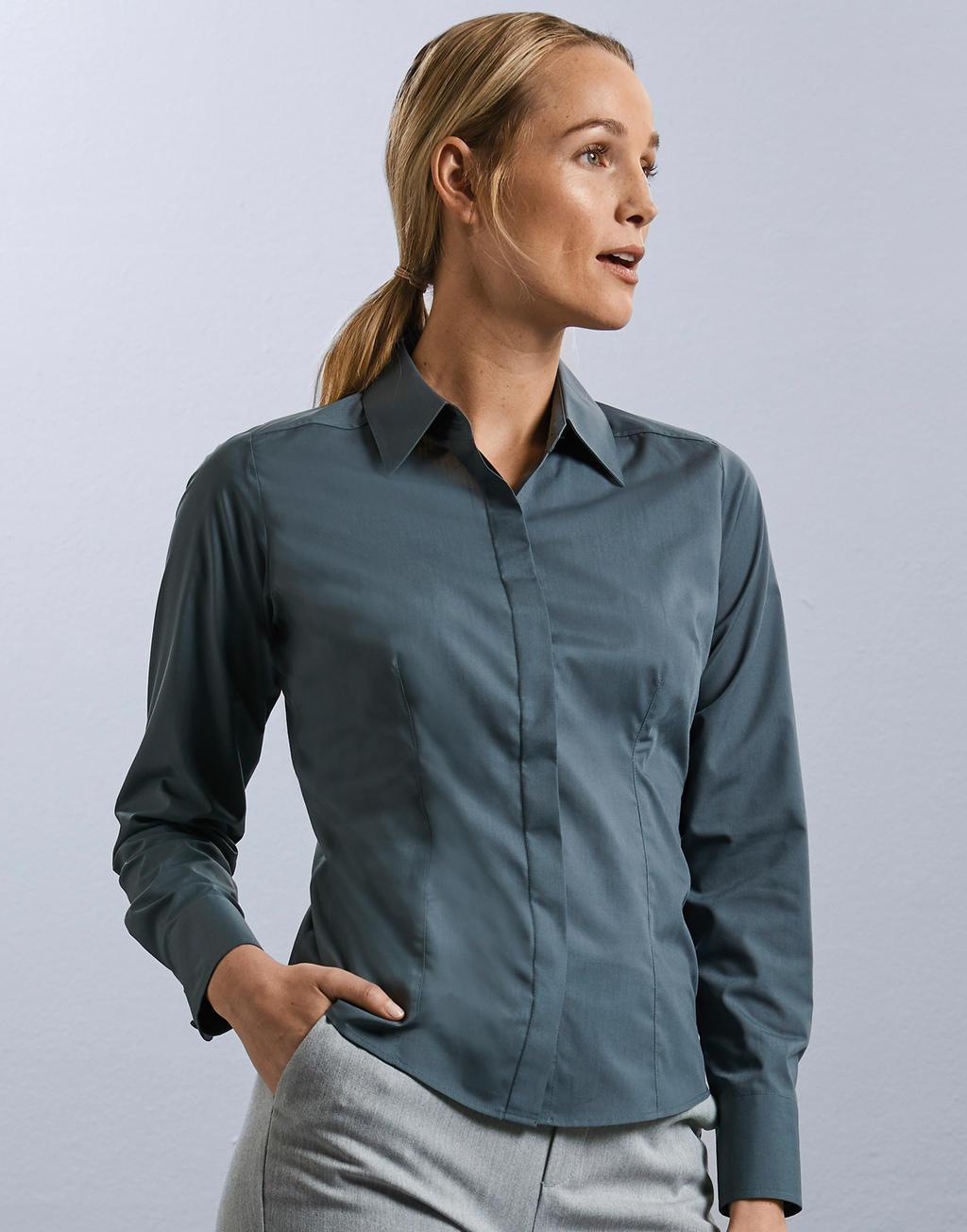 Bluzka popelinowa z długimi rękawami
