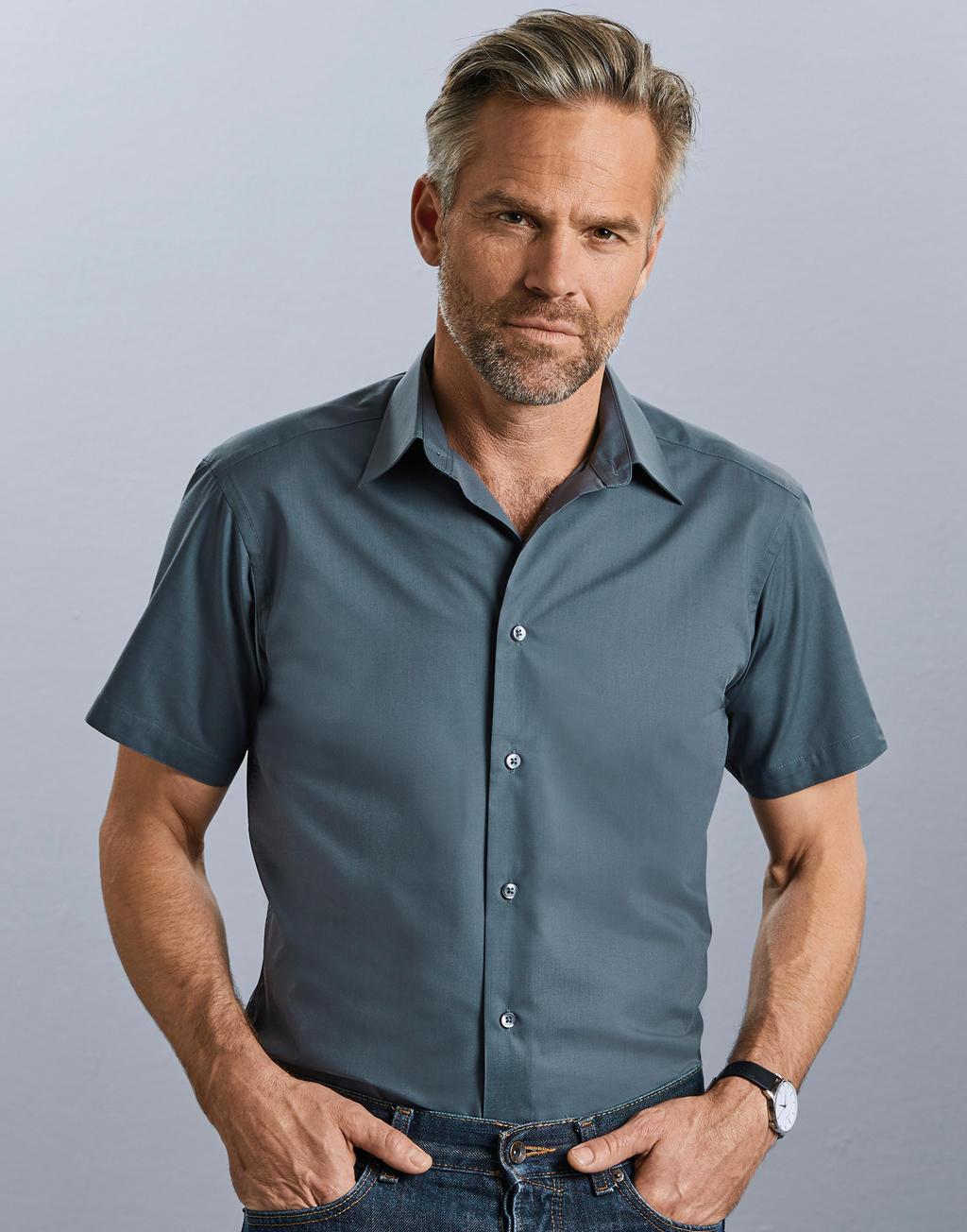 Koszula popelinowa z krótkimi rękawami