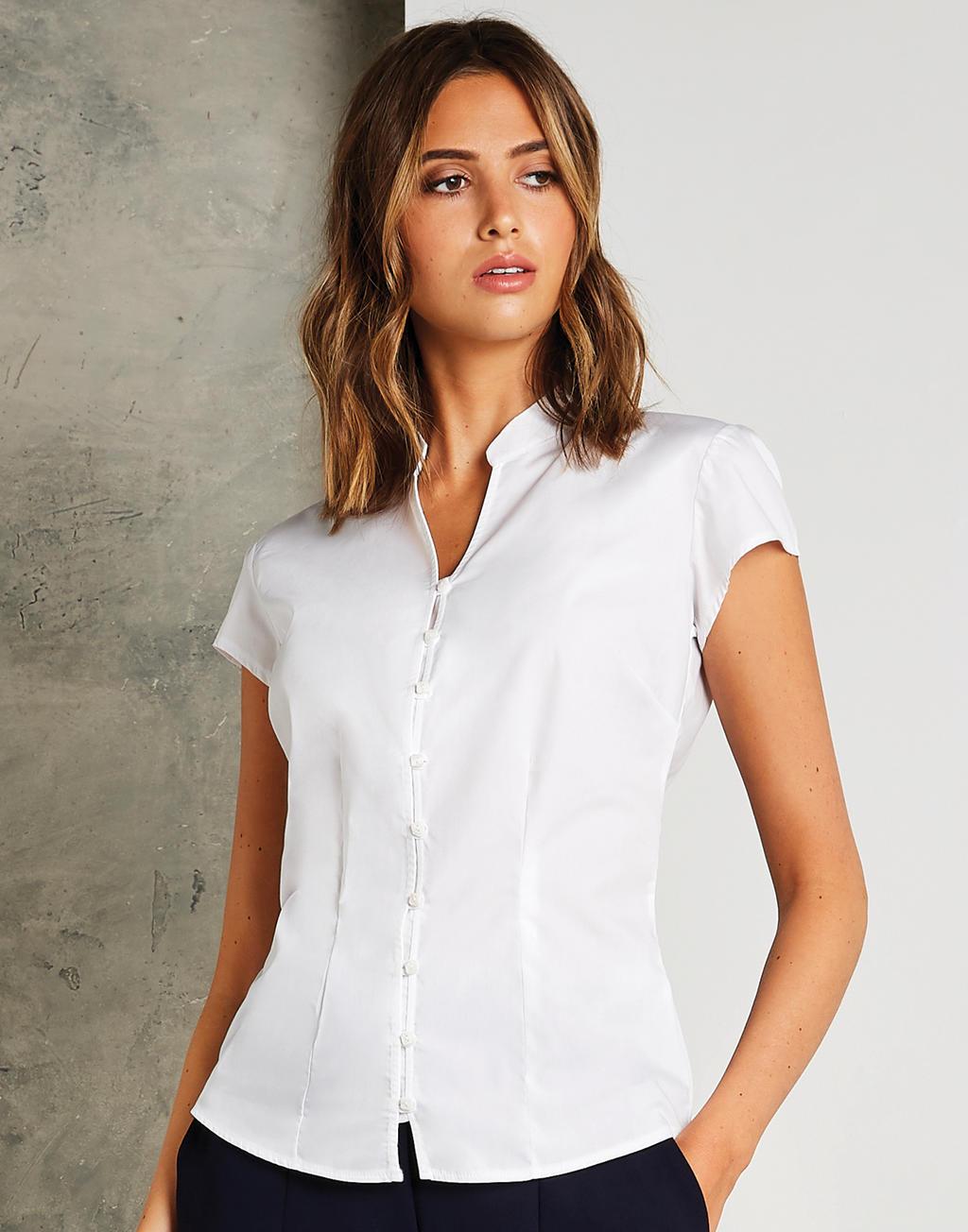 Damska koszulka SSL Tailored Fit Mandarin Collar